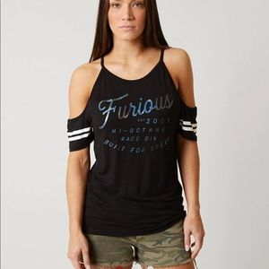 Affliction Fast and Furious Cuba cold shoulder top
